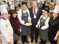 Erin Quirke (third from left) and Anne Marie Fealey (second from right) who won Bronze medals. Also included is Catering Instructor at NLN Tralee Tom Hardiman, NLN Area Manager Fiona Keogh, Mayor of Tralee and Kerry ETB Chairman Cllr Jim Finucane and Assistant Catering Instructor Frances Griffin. Photo by Dermot Crean