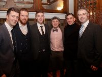 Eoin O'Neill, Dan O'Connor, Jamie Lowham, Eoin Sheehy, David Culloty and Eamonn O'Neill at the Na Gaeil GAA Social at The Meadowlands Hotel on Saturday night. Photo by Dermot Crean
