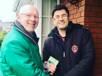 John Brassil TD on the canvass chatting to Anthony Garvey.