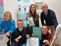 At the Think Before You Flush event at the Wetlands on Saturday were Margaret Attridge of Irish Water Uisce Éireann, Proinsias O Tuama of Clean Coasts Ballynamona, Susan Vickers of Clean Coasts, Anluan Dunne of Tralee Tidy Towns and John Breen of Kerry County Council.
