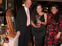Senior Lady Player of the Year is Jemma O'Connell, and receives her trophy from Chairman, Billy Ryle and Mary McQuinn of the organising committee.  Photo by Adrienne McLoughlin