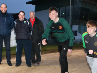 Pictured getting ready Tralee's Fastest Club Relay Race this Saturday are Liam O'Donnell from Churchill and David O'Callaghan from John Mitchels, with Brendan Nolan, Mike Quinn and Jim O'Donnell.