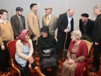 Cast members rehearsing for 'The Field'. Included in front are; Rhona Johnston (Mamie Flanagan), Mags Slattery (Mrs Maggie Butler) and Siobhan Keane (Mrs McCabe). Back from left; Conor O'Sullivan (Leamy Flanagan), Kevin McElligott (Tadhg), Chirs Conlon (William Dee), Frank Houlihan (Dandy McCabe), John Patton (Bull McCabe), George Lowe (Bird) and Eoin Nolan (Fr Murphy). Photo by Dermot Crean
