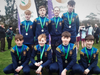 The CBS team with their medals at the championships on Saturday. Photo by Adrienne McLoughlin