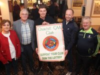 Relaunching the Churchill GAA Club Lotto at The Oyster Tavern on Friday were, from left; Helena Griffin, Treasurer Dermot Crowley, Ivan Parker, Chairman Ger Carmody and Mikey Moriarty. Photo by Dermot Crean