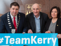 Cathaorleach of Kerry County Council with Tomás Hayes of Kerry Local Enterprise Office and Chief Executive of Kerry County Council, Moira Morrell launching Kerry Month Of Enterprise.