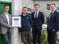 At the presentation of the Flogas Carbon Offsetting Certificate to Ballygarry House Hotel and Spa were l/r: Padraig McGillicuddy proprietor and general manager; Michael Murphy, area sales representative, Flogas;  Tadgh McGillicuddy, assistant manager and Thys Vogels, hotel manager.