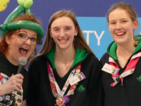From left Irish Girl Guides Ambassador Niamh Shaw, Patricia Gutteridge from Tralee and Aoibheann Griffin from Clonmel pictured at the FIRST LEGO League All Ireland Final