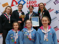 Irish Girl Guides' Team Paella made up of Girl Guides from Tralee, Cork and Clonmel pictured after they scooped the Best Robot Design award at the FIRST LEGO League Regional Finals in Dublin City University. Back row from left: Lara Timoney O'Brien, Aoibheann Griffin, Orna Sexton and Patricia Gutteridge of Tralee Senior Branch. Front row from left: Ellie Hutchinson, Laura Molloy and Anna Hurley.