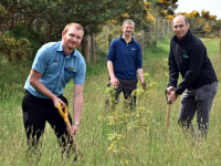 Ruairí Foley, Deputy Store Manager at Aldi Killorglin, John Lynch, landowner, and Gerard Moroney, Southern Regional Manager with Green Belt, at Muingaphuca, Killorglin, Co Kerry. As part of Aldi's commitment to planting 100,000 native hardwood trees over the next five years, Aldi recently planted 15,000 trees on a site in Muingaphuca in the heart of Kerry. Photo: Don MacMonagle