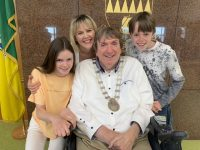 The new Mayor of Tralee Terry O'Brien with wife Teresa and children Millie and Mark.