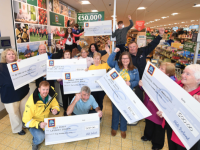 Pictured earlier this year are representatives of St. Mary of Angels, Castleisland Day Care Centre, Enable Ireland Kerry Children's Service, RNLI Fenit Lifeboat Station, Deel Animal Action Group, Muckross Community Association and Cahir National School.