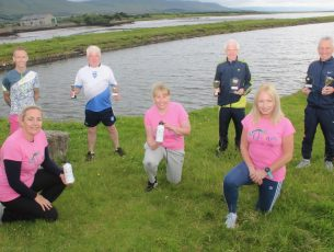 Launching the run were, in front, Mary Gardiner, Andrea O'Donoghue and Michelle Greaney. At back; Ollie O'Sullivan with Liam, John and Stephen Griffin. Photo: Dermot Crean