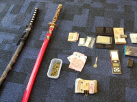 Some of the items seized by gardai at houses in Killarney.