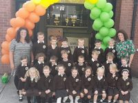 Ms Ní Ghearáin's Junior Infants at Gaelscoil Mhic Easmainn on their first day at school on Thursday.