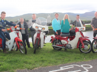 Launching the West Kerry Honda 50 and Classic Bike Run charity event were, from left; Sean Kerins, John O'Regan, Dr Tom McCormack, Maura Sullivan, Elfa Asarina, Jason Clifford and Donal O'Regan. Photo by Dermot Crean