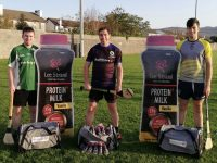 Barry Lyons, Diarmuid Brennan and Tadhg Brick of Tralee Parnells with new kitbags sponsored by Lee Strand.