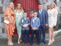 Blennerville NS pupils Jace and Rylan Flynn, with Hazel and Norma Flynn and Timmy and Kayleigh Moriarty, at their First Holy Communion at St John's Church on Saturday. Photo by Dermot Crean
