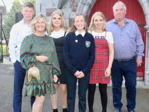 Caoimhe Sugure with Ross, Vera, Amber, Ava and Raymond Sugrue at her Confirmation at St John's Church on Saturday. Photo by Dermot Crean