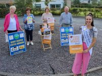 Kerry Rose Sally Ann Leahy is joined by Mairead Fernane, Mary Shanahan, Bridie O'Connor and Joe Hennebery in launching the annual Kerry Hospice Coffee Morning. Photo by Dermot Crean
