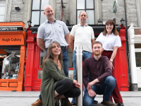 rtist Véronique Gerber, Brendan Culloty of Hugh Culloty's, Bernard Cassidy of Teach Beag, Designer Donnchadha O'Connor and Teresa Tangney of Tangney's Opticians are taking part in the Beyond Imagination Street window project launching on Culture Night Sept. 18th. Photo M Di Grande