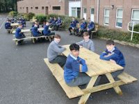 CBS The Green students on the new benches for outdoor dining during lunchtimes. Photo by Dermot Crean