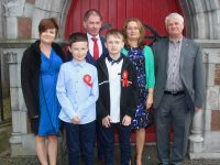 Conor and Enda Sheehan, with Paulette O'Halloran, John Sheehan, Maria Sheehan and Michael O'Halloran, at the Derryquay NS Confirmation Day at St John's Church on Saturday. Photo by Dermot Crean