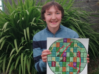Tralee local, Micháel O'Shea, Senior Individual Category Winner with his board game 'Climate Conquest.'