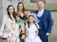 Presentation Primary pupil Aine O'Shea, with Máire, Caroline and Cathal O'Shea, at her First Holy Communion Day at St John's Church on Saturday. Photo by Dermot Crean