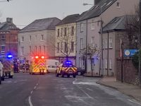 The building on Ashe Street (light-coloured, centre) where workers were injured this morning. Photo Dermot Crean