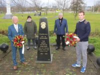 Cllrs Sam Locke and Mikey Sheehy with, at back, Billy McElligott and Peter Locke, laying a wreath at the monument in Ballymullen on Sunday morning. Photo by Dermot Crean