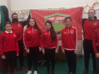 St Pats GAA Blenerville and Camp Juniors helping to promote Derryquay NS. Thanks to Johnny Enright and Seamus Murphy from St Pats and Brian Mehigan and Frank Vansteenkiste of Camp Juniors F.C.