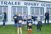 Helen Costello and Shane O'Brien with younger members of Tralee RFC launching the fundraiser for juveniles' activities. Photo by Dermot Crean