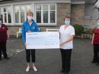 Maura Sullivan (second from left) of Kerry Hospice receives a cheque for €1,137.50 from Lil Hanafin of the Bon Secours. Also pictured are Bridie Byrne and Mairead Nagle from the hospital. Photo by Dermot Crean