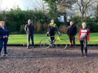 Launching the Chain Gang Cycling Club's 'Spin Into Spring' fundraiser were Jennifer Crowley, Pat Keohane, Dave Elton, John Murray and Avril Hewitt.