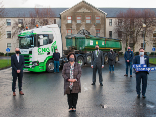 Photographed at Kerry county buildings, when the Kerry County Council  became the first local authority in Ireland to trial a zero carbon Heavy Goods Vehicle (HGV) powered by compressed renewable gas were: Declan O'Sullivan, Gas Networks Ireland; Tom Ahern, Machinery Complex,  Kerry County Council; Moira Murrell,  Chief Executive,  Kerry County Council; Patrick Connor-Scarteen,  Cathaoirleach of Kerry County Council, John Fitzgerald,  Senior Executive Engineer – Roads, Transportation & Marine Dept., Kerry County Council; Tom Nolan, Director,  Tom Nolan & Sons Ltd. (Castleisland, Co. Kerry), David Hanahoe, Gas Networks Ireland. Photo taken in accordance with public health restrictions, December 2020.