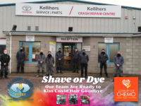 Staff at Kellihers Garage in Tralee who are taking part in the Shave Or Dye challenge.