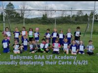 On Sunday last Ballymacelligott GAA U7s proudly displaying their certs acknowledging their great skill improvements over the past four weeks.