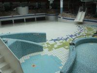 The empty pool at the Aqua Dome.