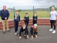 Pupils in Blennerville NS with Principal Robbie O'Connell and Michelle Greaney of MG Coaching promoting the Irish Life/Athletics Ireland 'Family Mile Challenge'. Photo by Dermot Crean