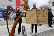 Reidun Schlesinger and Ross Brassil at the protest in The Square on Wednesday. Photo by Dermot Crean