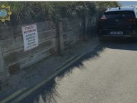 Cars parked illegally at Banna on Friday.