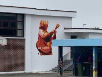 The mural at CBS Primary School painted in memory of Eric Roche.