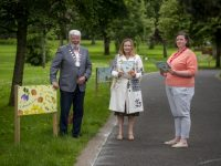 Repro Free - 13.7.2021 . A new outdoor reading experience has arrived into Tralee's Town Park this week . Pictured at the Story Trail boards were : Johny Wall Mayor of Tralee , Anne Fitzgerald and Niamh Doyle from the Kerry County Library .