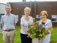Mairead Fernane (centre) with Jack Shanahan and Mary Shanahan of Kerry Hospice Foundation. Photo by Dermot Crean