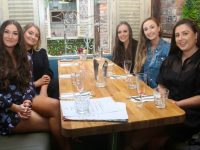 Lauren O'Leary, Melissa O'Connell, Megan O'Sullivan, Emma Hanrahan and Orla Holly enjoying a night out at Molly J's Courtyard Bar at Benners on Thursday. Photo by Dermot Crean