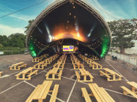 The special outdoor stage at the INEC which will host a series of concerts this August.
