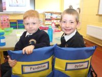 Junior Infants at Caherleaheen getting used to their new surroundings. Photo by Dermot Crean