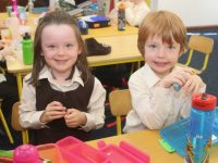 Gaelscoil Mhic Easmainn Junior Infants on their first day at school on Thursday. Photo by Dermot Crean