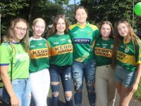 Ellen Cooke, Cathy Dwyer, Katie Hussey, Kirby Ann Ryan, Ciara O'Mahony and Caoimhe Carmody at the marquee in Pearse Park to watch the big match on Saturday. Photo by Dermot Crean